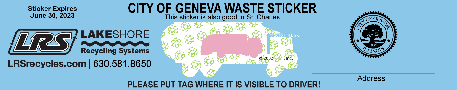 Geneva Garbage Sticker