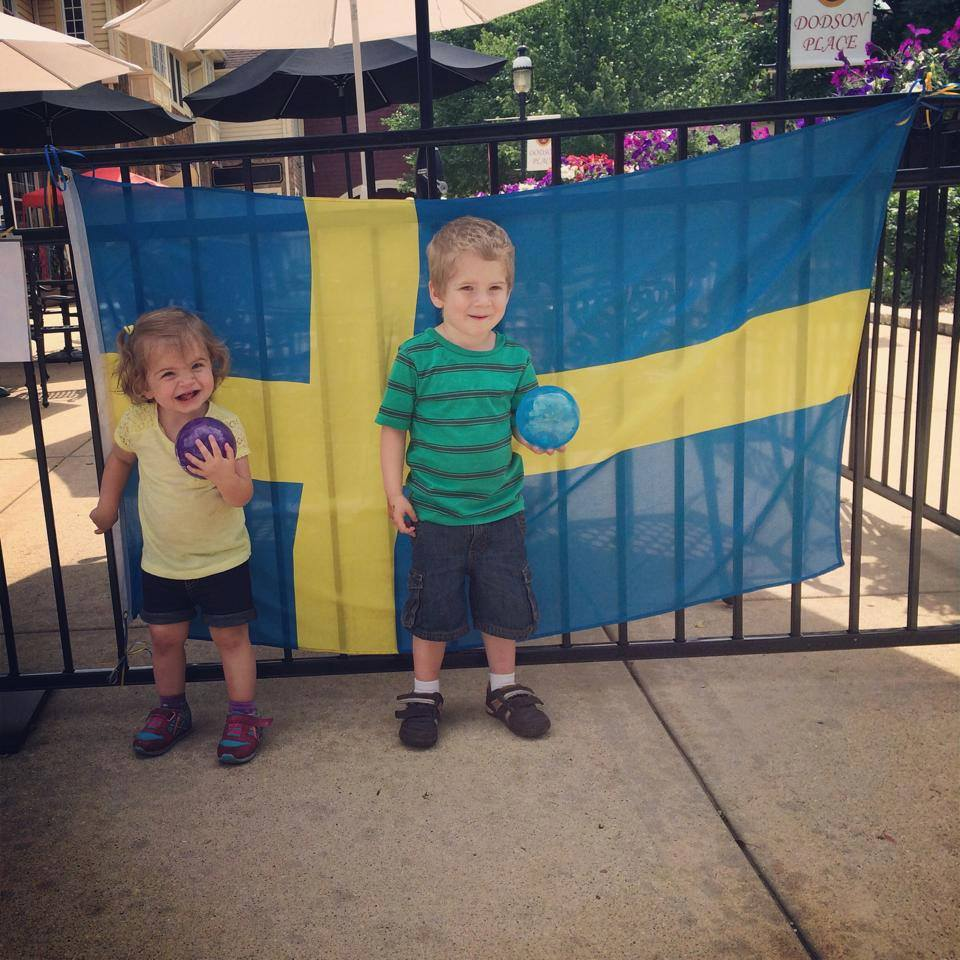 Swedish Flag with Kids - Kim Byrne