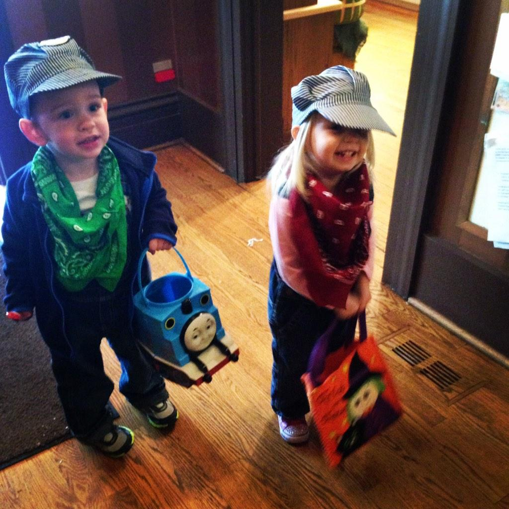 Train conductors trick or treating downtown - Katie Apgar