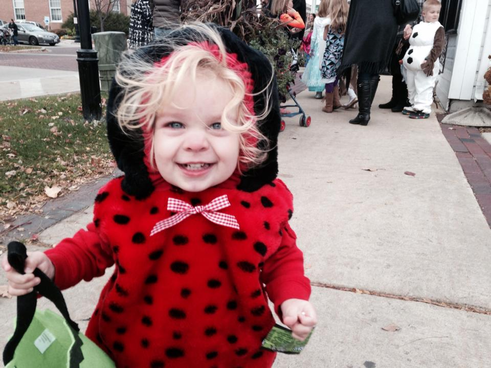 Violet, age 1, Trick or Treating in downtown Geneva - Deanna Matyskiel